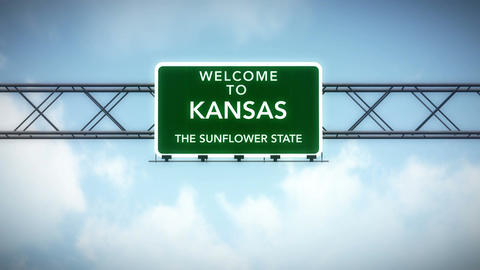 4K Passing Kansas USA State Border Welcome Road Sign with Matte 2 stylized Animation