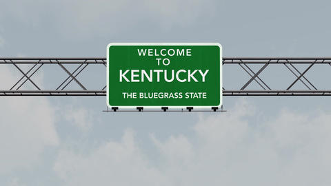 4K Passing Kentucky USA State Border Welcome Road Sign with Matte 1 neutral Animation