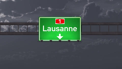 4K Passing Lausanne Switzerland Highway Road Sign at Night with Matte 1 neutral Animation