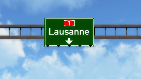 4K Passing Lausanne Switzerland Highway Road Sign with Matte 2 stylized Animation
