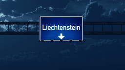 4K Passing Liechtenstein Highway Road Sign at Night with Matte 2 stylized Animation