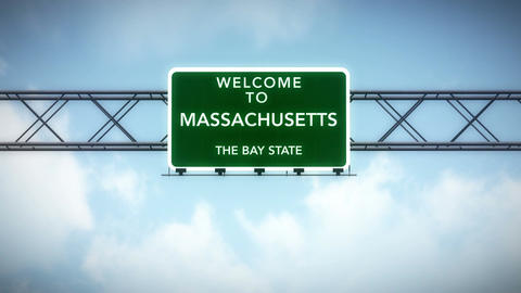4K Passing Massachusetts USA State Border Welcome Road Sign with Matte 2 stylize Animation