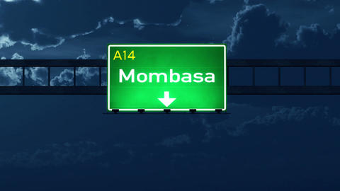 4K Passing Mombasa Kenya Highway Road Sign at Night with Matte 2 stylized Animation