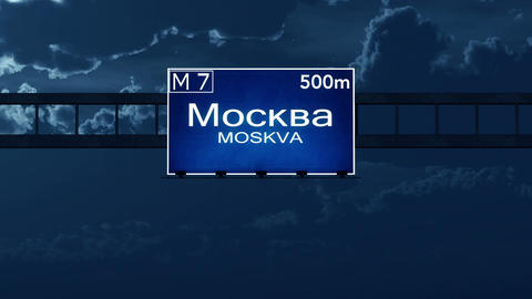 4K Passing Moscow Russia Highway Road Sign At Night With Matte 2 Stylized stock footage