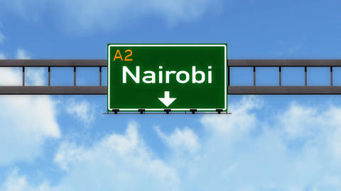 4K Passing Nairobi Kenya Highway Road Sign with Matte 2 stylized Animation
