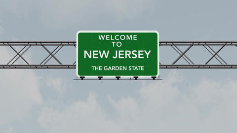 4K Passing New Jersey USA State Border Welcome Road Sign with Matte 1 neutral Animation