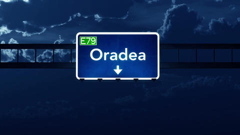 4K Passing Oradea Romania Highway Sign At Night With Matte 2 Stylized stock footage
