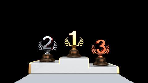 Podium Prize Trophy Ba2 HD Stock Video Footage