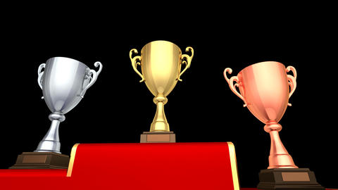 Podium Prize Trophy Cup Ea HD Stock Video Footage