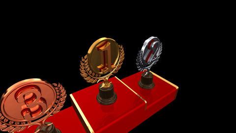 Podium Prize Trophy Ec HD Stock Video Footage