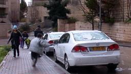 Jerusalem snow 2012 11 Stock Video Footage