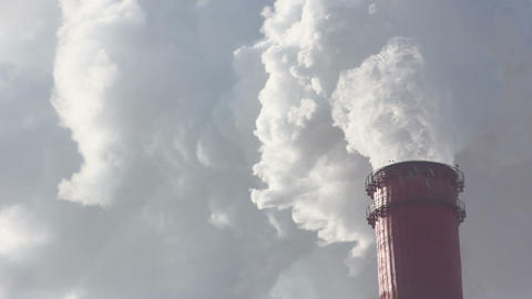 Industrial Chimney And Air Pollution Footage