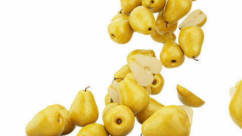 Pears flow with slow motion over white. Alpha is included Stock Video Footage