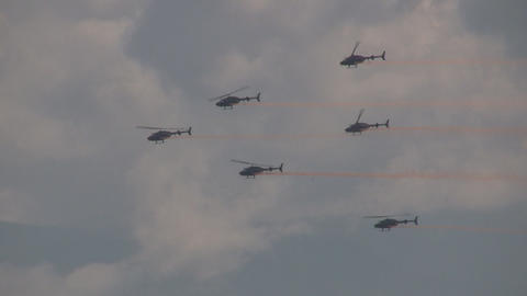 Helicopter in formation Stock Video Footage