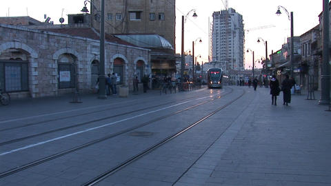 Jerusalem tram 2 Stock Video Footage