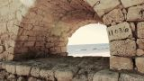 archaeology acueducto caesarea historic aqueduct Israel roman arch building Footage