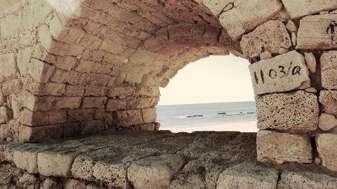 archaeology acueducto caesarea historic aqueduct Israel... Stock Video Footage