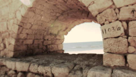 archaeology acueducto caesarea historic aqueduct Israel... Stock Video Footage