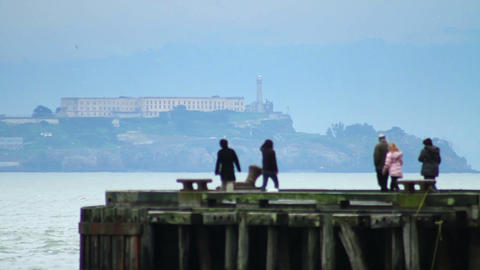 Alcatraz Island Tourists Footage