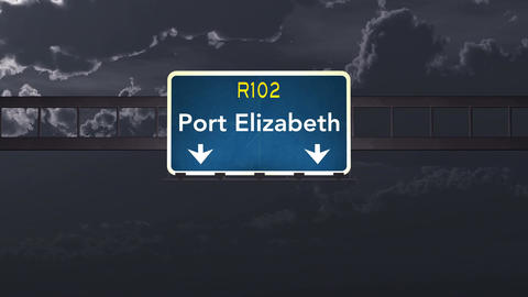 4K Passing Port Elizabeth South Africa Highway Sign at Night with Matte 1 neutra Animation