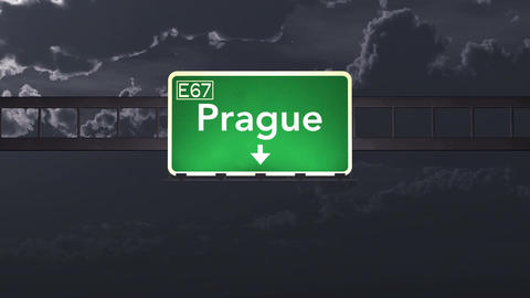4K Passing Prague Czech Republic Highway Sign At Night With Matte 1 Neutral stock footage