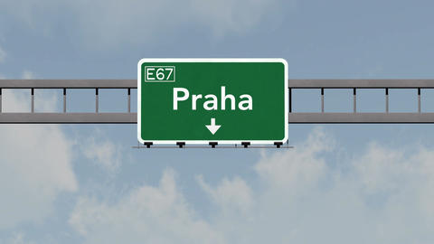 4K Passing Praha Czech Republic Highway Road Sign with Matte 1 neutral CG動画素材
