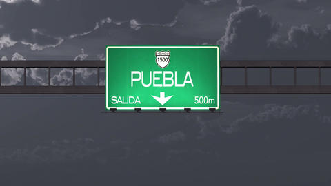 4K Passing Puebla Mexico Highway Road Sign at Night with Matte 1 neutral Animation