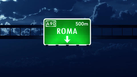 4K Passing Roma Italy Highway Sign at Night with Matte 2 stylized Animation