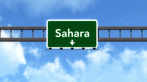 4K Passing Sahara Desert Africa Highway Road Sign With Matte 2 Stylized stock footage