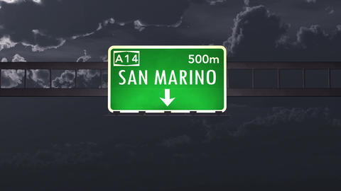 4K Passing San Marino Highway Sign at Night with Matte 1 neutral Animation