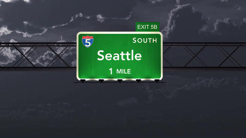4K Passing Seattle USA Interstate Highway Road Sign at Night with Matte 1 neutra Animation
