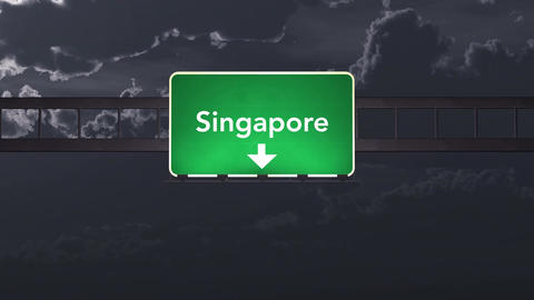 4K Passing Singapore Highway Sign at Night with Matte 1 neutral Animation