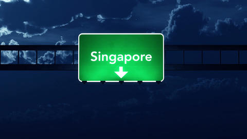 4K Passing Singapore Highway Sign at Night with Matte 2 stylized Animation