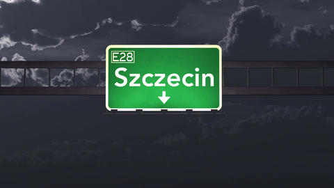 4K Passing Szczecin Poland Highway Sign at Night with Matte 1 neutral Animation
