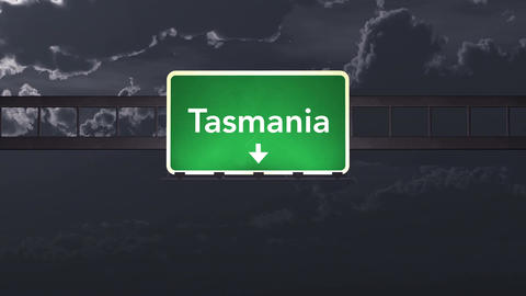 4K Passing Tasmania Australia Highway Sign at Night with Matte 1 neutral Animation