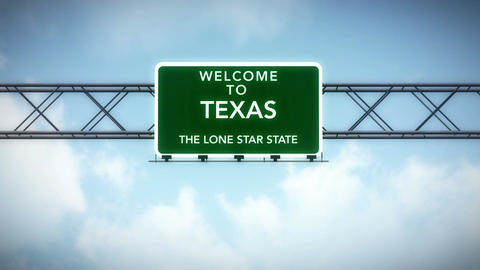 4K Passing Texas USA State Border Welcome Road Sign with Matte 2 stylized Animation