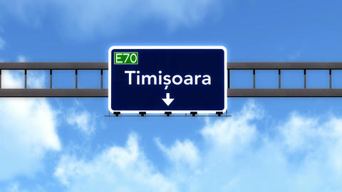 4K Passing Timisoara Romania Highway Road Sign With Matte 2 Stylized stock footage