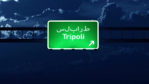 4K Passing Tripoli Lybia Highway Sign at Night with Matte 2 stylized Animation