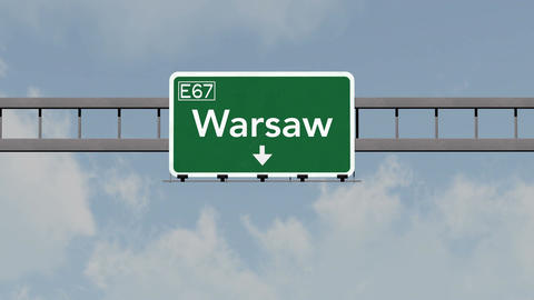 4K Passing Warsaw Poland Highway Road Sign with Matte 1 neutral Animation