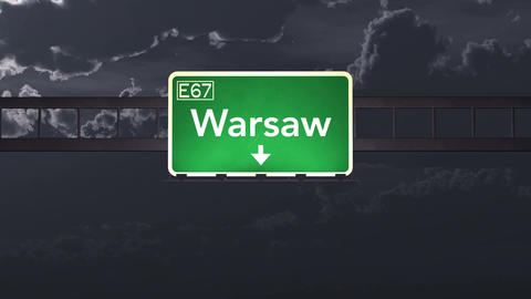 4K Passing Warsaw Poland Highway Sign at Night with Matte 1 neutral Animation