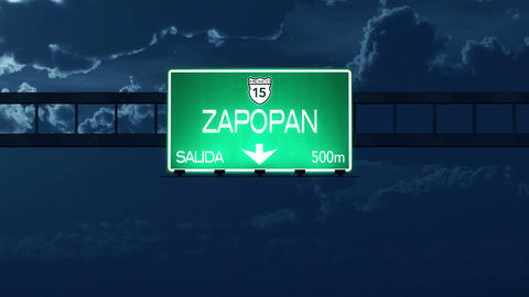 4K Passing Zapopan Mexico Highway Road Sign at Night with Matte 2 stylized Animation