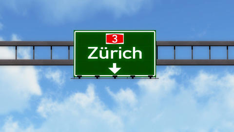4K Passing Zurich Switzerland Highway Road Sign with Matte 2 stylized Animation