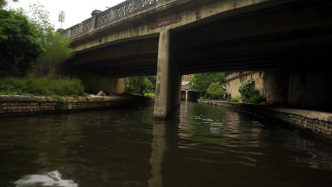 San Antonio River Flows Thru Texas City Downtown Riverwalk Footage
