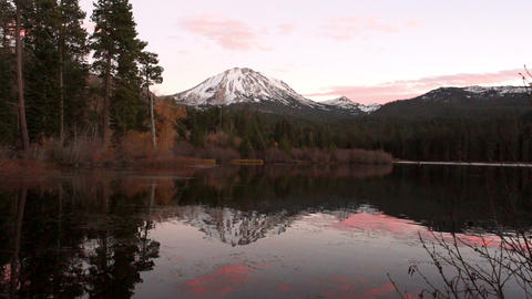 Lassen Peak Manzanita Lake Sunset California National Park Footage