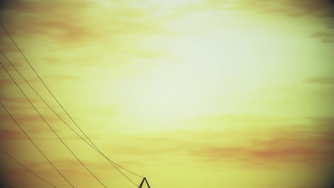4K High Voltage Electric Poles System in the Sunset Sunrise 3D Animation 10 styl Animation