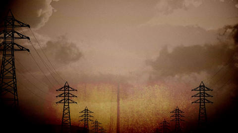 4K High Voltage Electric Poles System in the Sunset Sunrise 3D Animation 16 vint Animation