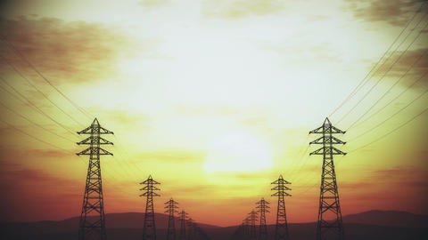 4K High Voltage Electric Poles System in the Sunset Sunrise 3D Animation 2 styli Animation