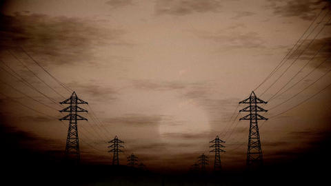 4K High Voltage Electric Poles System in the Sunset Sunrise 3D Animation 4 vinta Animation