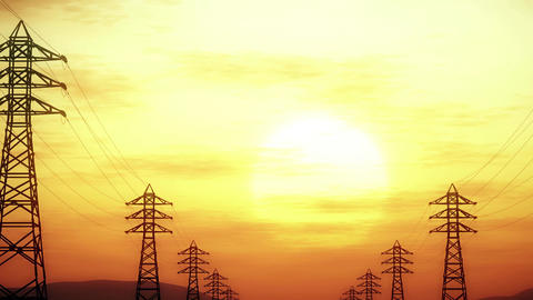 4K High Voltage Electric Poles System in the Sunset Sunrise 3D Animation 7 styli Animation