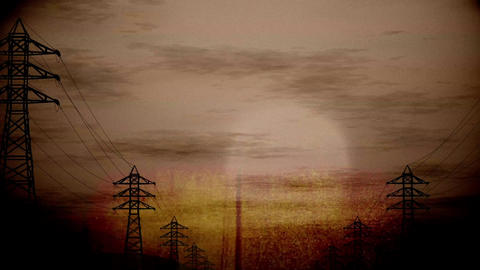 4K High Voltage Electric Poles System in the Sunset Sunrise 3D Animation 8 vinta Animation